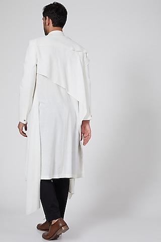 White Layered Long Jacket by Antar Agni Men