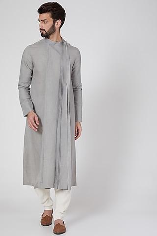 Grey Long Draped Kurta by Antar Agni Men