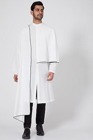 White Kurta With Extended Drape by Antar Agni Men