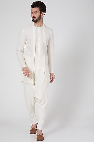White Drop Crotch Pants by Antar Agni Men