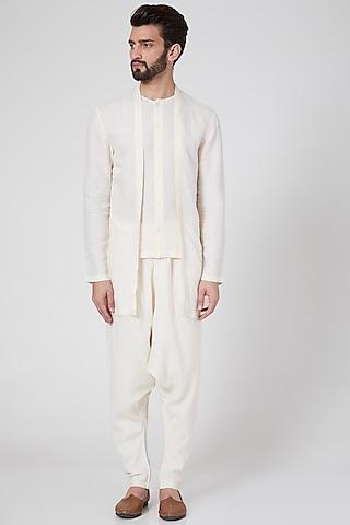 White Double Cut Shirt by Antar Agni Men
