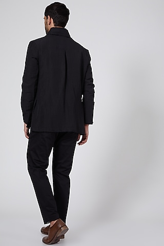 Black Linen Short Jacket by Antar Agni Men