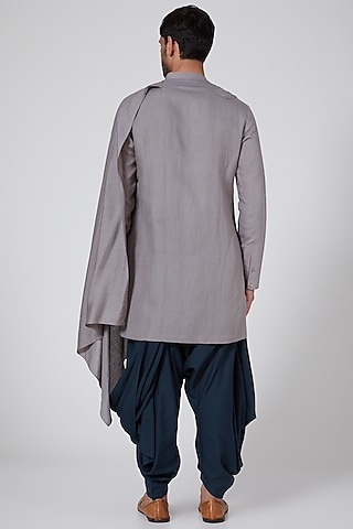 Grey Draped Salwar Pants by Antar Agni Men