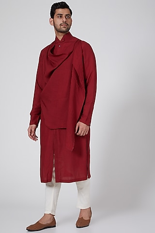 Red Long Draped Kurta by Antar Agni Men