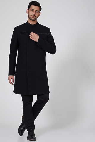 Black Bandhgala Jacket by Antar Agni Men