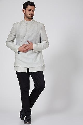 Black Cotton Satin Trousers by Antar Agni Men