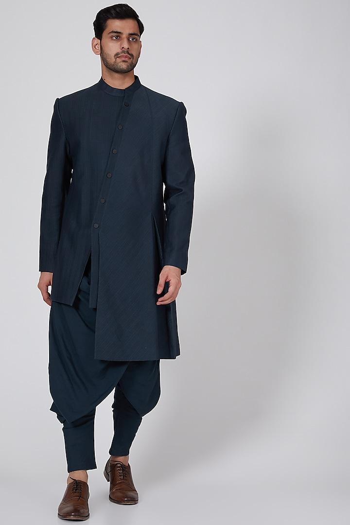 Navy Blue Draped Salwar Pants by Antar Agni Men