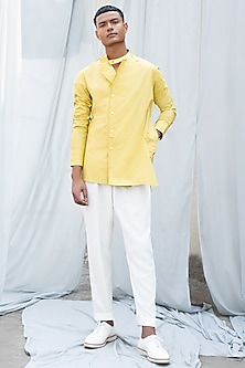 Yellow Cotton Pocket Shirt by Antar Agni Men