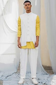 White Asymmetrical Cotton Waistcoat by Antar Agni Men