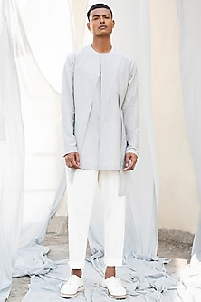 Grey Layered Silk Shirt by Antar Agni Men