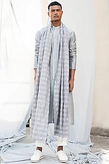 Grey Striped Woven Stole by Antar Agni Men