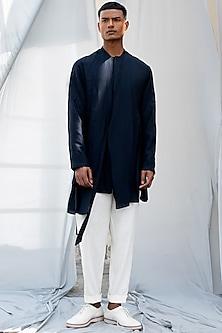 Navy Blue Short Kurta by Antar Agni Men