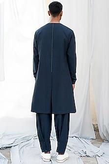Navy Blue Cotton Kurta by Antar Agni Men