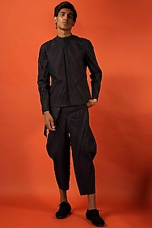 Black Pleated Cotton Shirt by Antar Agni Men