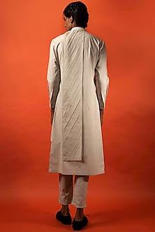 Beige Pleated Cotton Kurta by Antar Agni Men