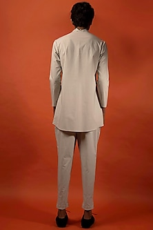 Beige Overlapping Cotton Shirt by Antar Agni Men