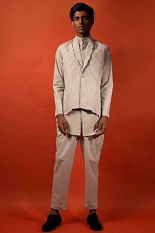 Beige Pleated Cotton Waistcoat by Antar Agni Men