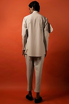 Beige Pleated Cotton Shirt by Antar Agni Men