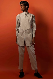 Biege Cotton Long Shirt by Antar Agni Men