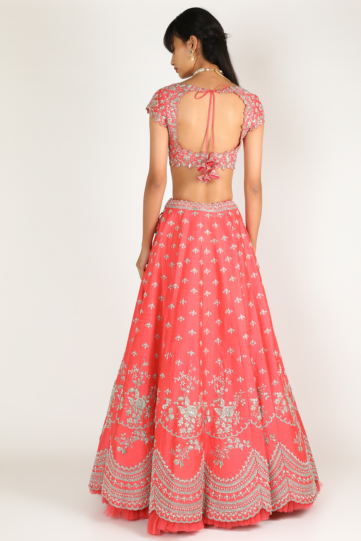 Fuchsia Embroidered Lehenga Set by Anushree Reddy