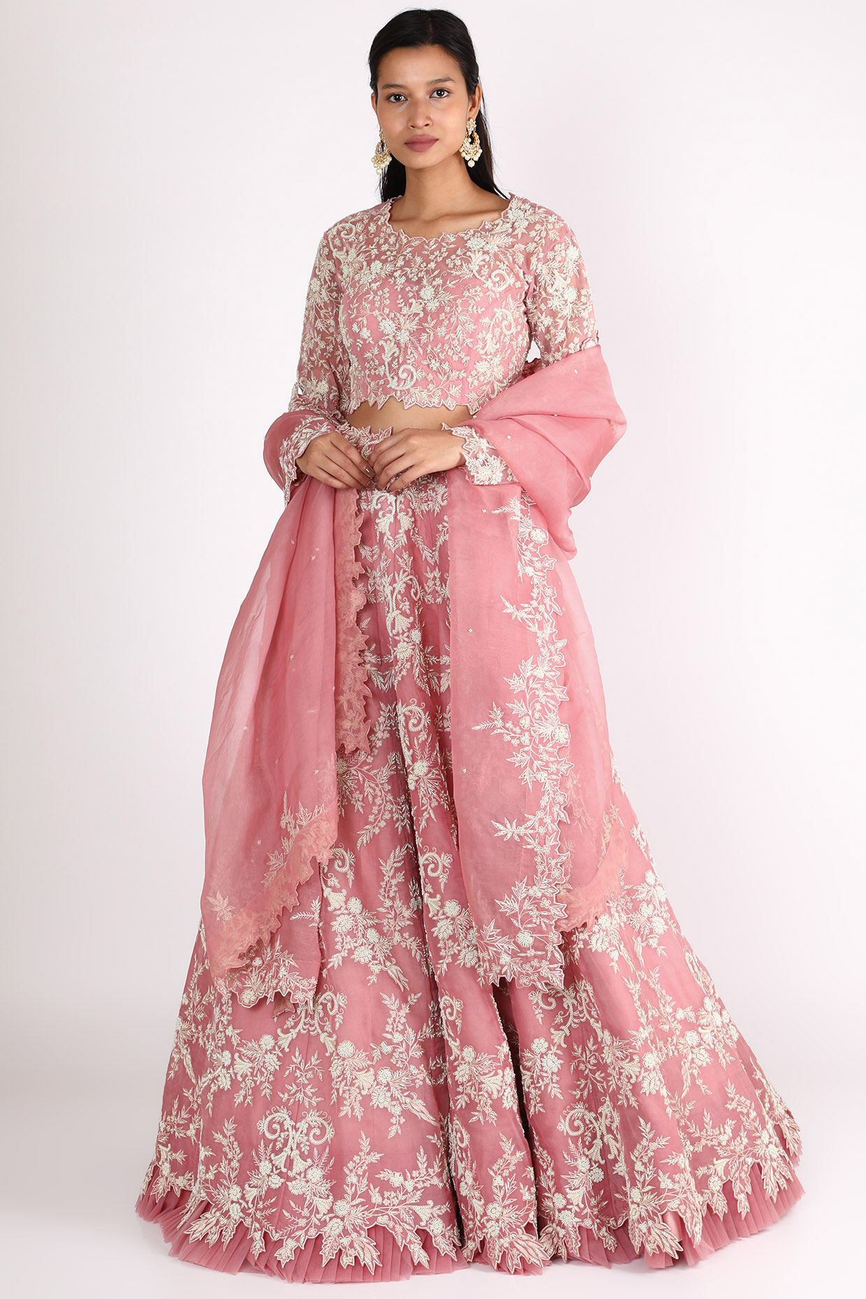 Dusty Pink Embroidered Lehenga Set by Anushree Reddy