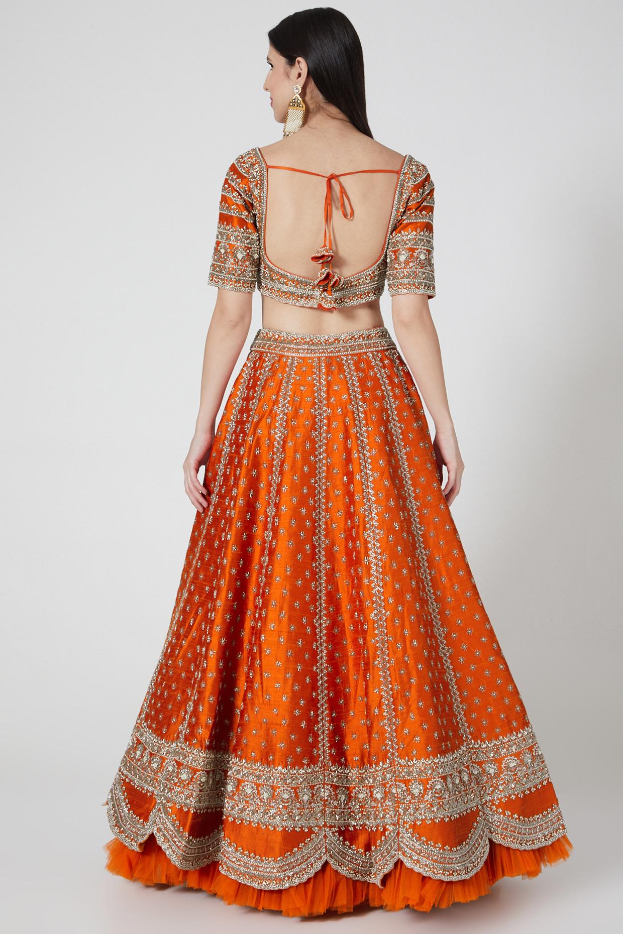 Orange Embroidered Lehenga Set by Anushree Reddy