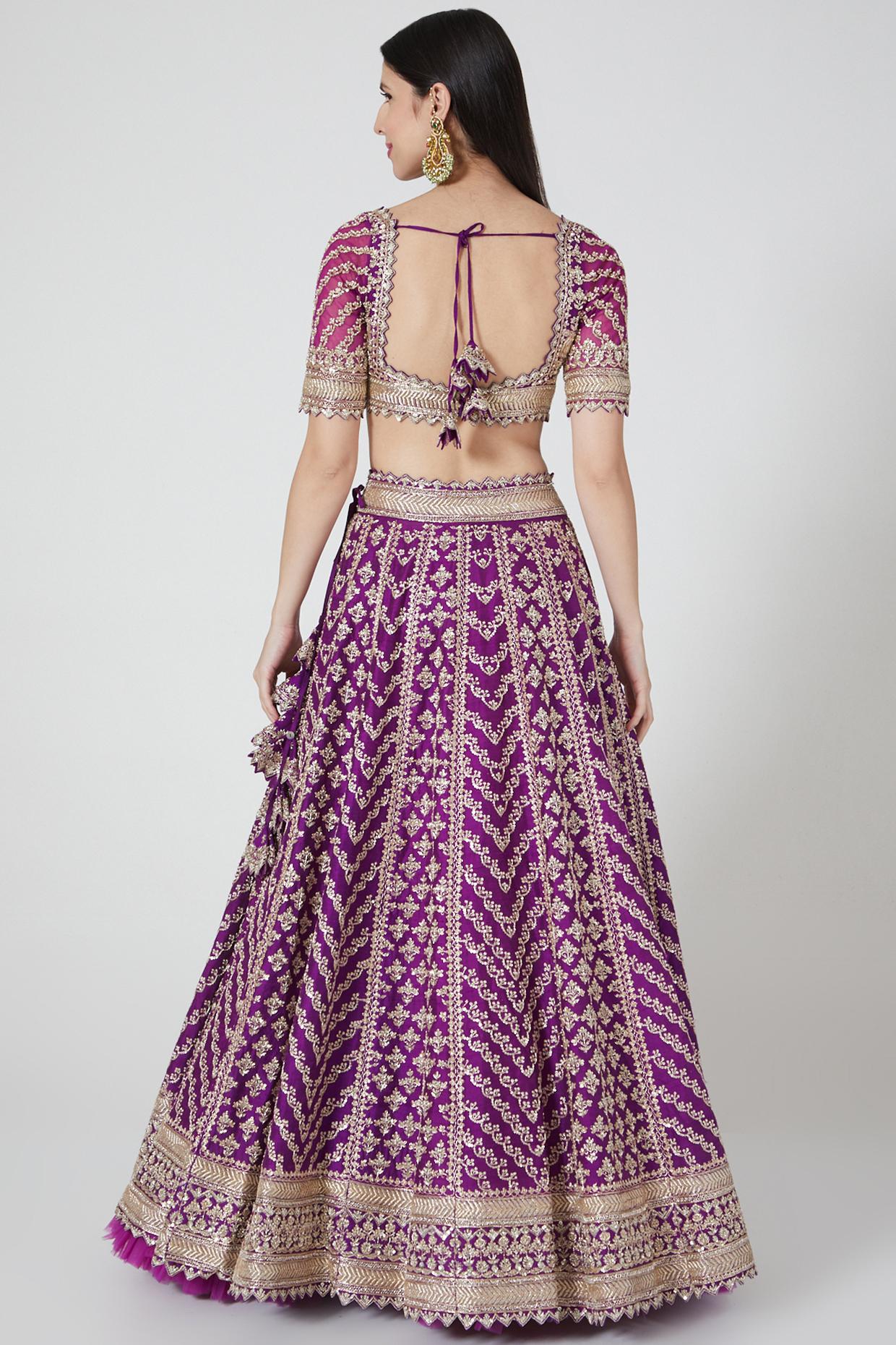 Purple Maahi Lehenga Set by Anushree Reddy