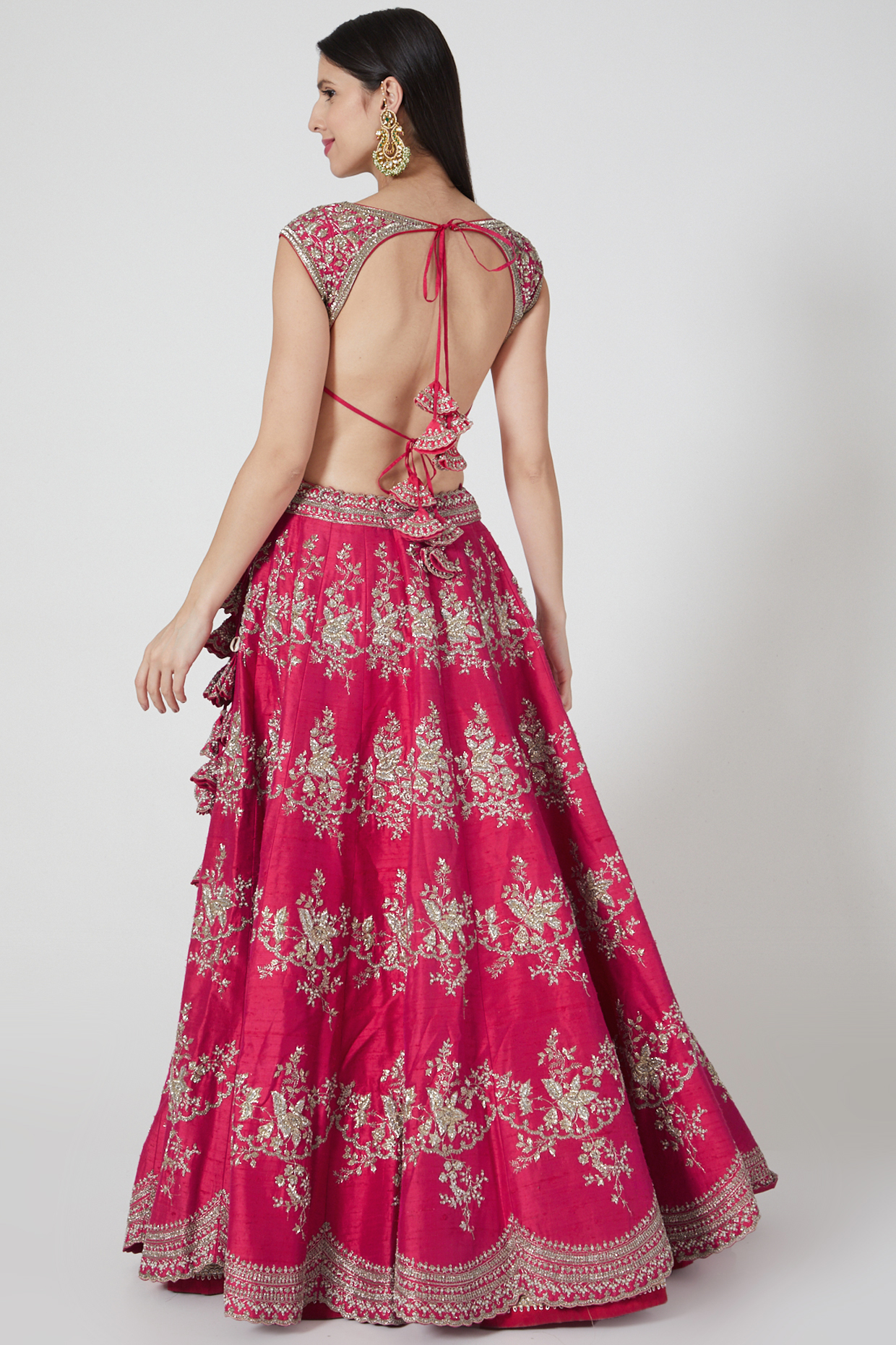 Reddish Pink Shama Lehenga Set by Anushree Reddy