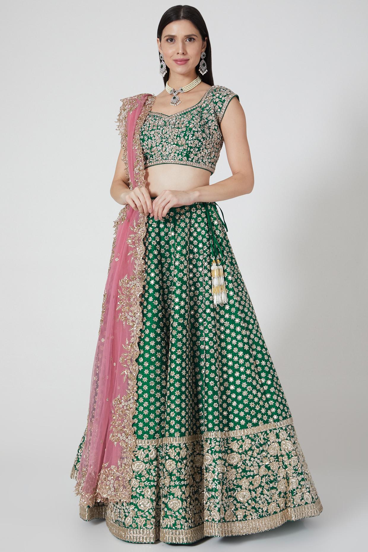 Emerald Green Zardozi Lehenga Set by Anushree Reddy