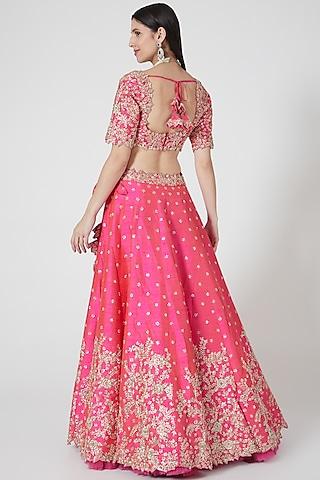 Pink Lehenga Set With Zardosi Work by Anushree Reddy