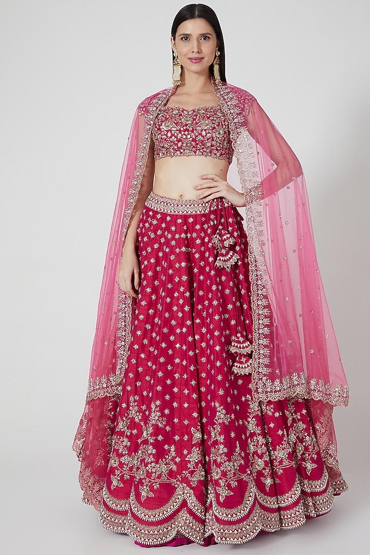 Cherry Red Embroidered Lehenga Set by Anushree Reddy
