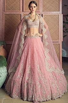 Light Pink Embroidered Lehenga Set by Anushree Reddy