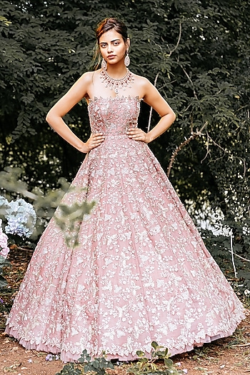 Dull Pink Embroidered Gown by Anushree Reddy