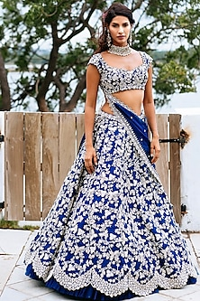 Navy Blue Embroidered Organza Lehenga Set by Anushree Reddy