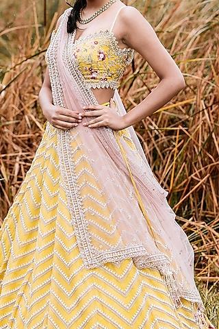 Yellow Thread Embroidered Lehenga Set by Anushree Reddy