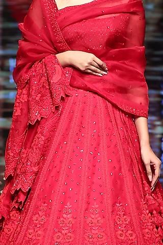 Red Tonal Embroidered Lehenga Set by Anushree Reddy