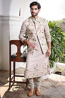 Beige Embroidered Kurta Set With Waistcoat by Anushree Reddy Men