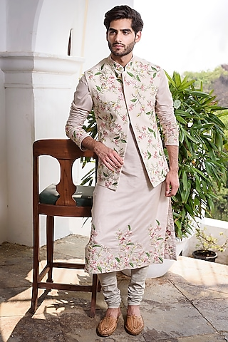 Beige Embroidered Kurta Set With Waistcoat by Anushree Reddy Men