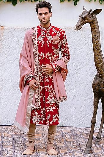 Red & Pink Embroidered Sherwani Set by Anushree Reddy Men