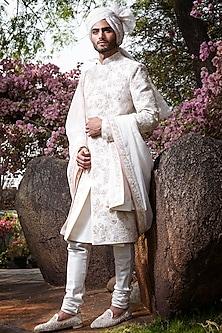 Ivory Embroidered Sherwani Set by Anushree Reddy Men-Shop By Style