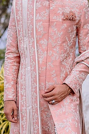 Dull Pink Embroidered Sherwani Set by Anushree Reddy Men