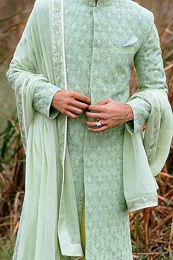 Mint Green & White Sherwani Set by Anushree Reddy Men