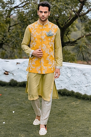 Yellow Embroidered Waistcoat Set by Anushree Reddy Men