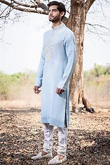 Blue Embroidered Kurta Set by Anushree Reddy Men