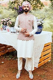Dull Pink & White Waistcoat Set by Anushree Reddy Men