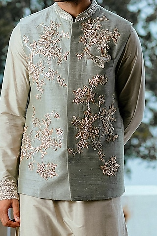 Sage Green Waistcoat With Floral Jaal Detailing by Anushree Reddy Men