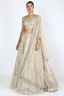 Ivory Zardosi Embroidered Lehenga Set by Anushree Reddy