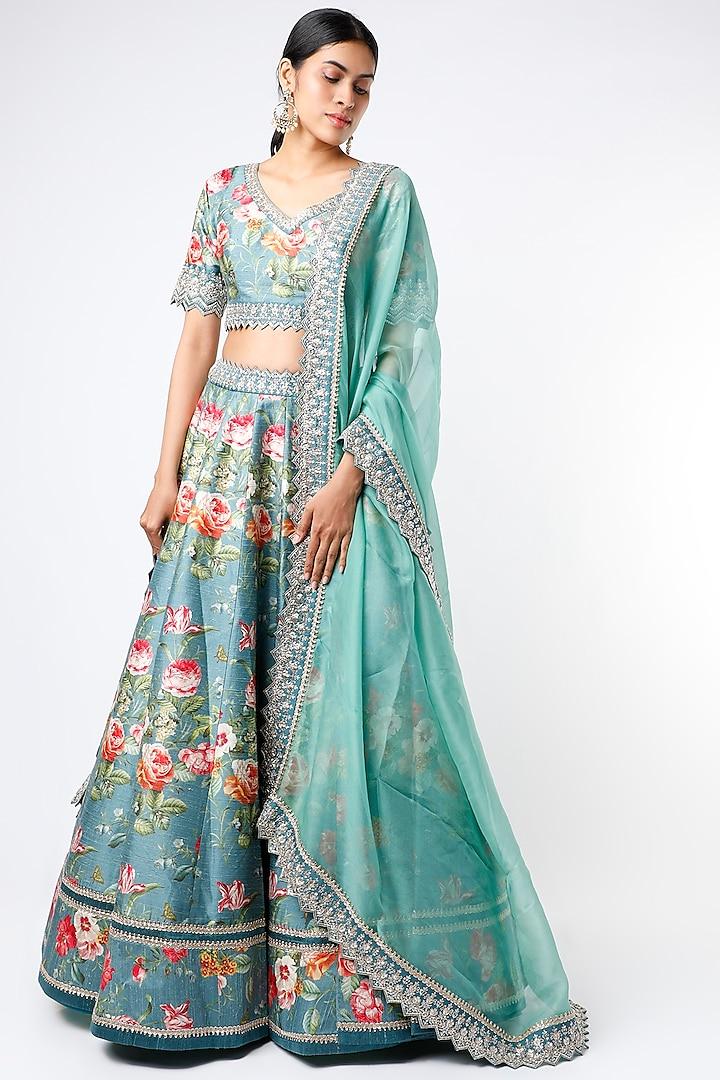 Vintage Blue Floral Printed Lehenga Set by Anushree Reddy
