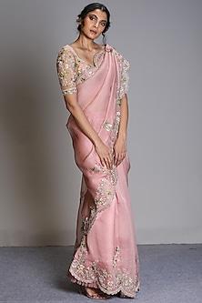 Rose Pink Embroidered Saree Set by Anushree Reddy-ANUSHREE REDDY