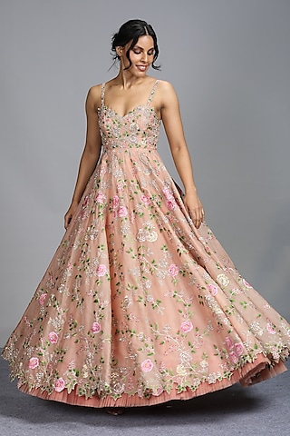 Blush Pink Embroidered Gown by Anushree Reddy